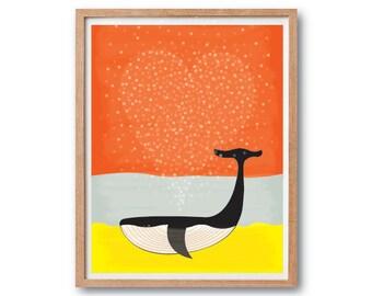 Nursery Art Print, Whale Love art print, Whale illustration, Whale wall art, Whale wall decor, Heart Print, Modern home decor, Kids room art