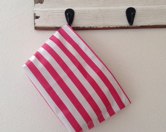 Beth's Large Available in Multiple Colors Stripes Oilcloth Cosmetic Bag