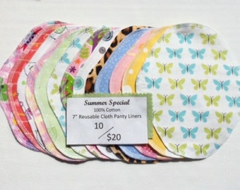 10/20.00 Sale, thin and light cloth panty liners, set of 10,  reusable cloth pads, cloth pantyliners, cloth pads.
