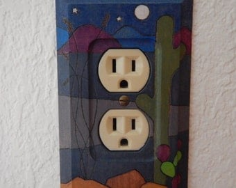 Outlet Cover, Wood, Desert at Night