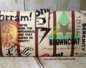 Big damn heroes - Handmade Long fandom geek Wallet  BiFold Clutch- Vegan Wallet -  Firefly Serenity Browncoats Unite