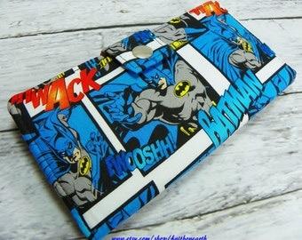Bat Handmade Long fandom geek Wallet  BiFold Clutch - Vegan Wallet - Batman in action or half size unisex wallet