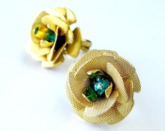 Vintage Jewelry Gift Set Mesh Rose Earring and Ring Set with Aqua Rhinestone Center / Clip On Earrings / December Birthstone