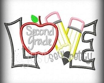 Love Second Grade Pencils Embroidery Applique Design