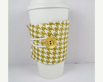 SALE Valentines Day Metallic Gold Houndstooth Coffee Sleeve Adjustable