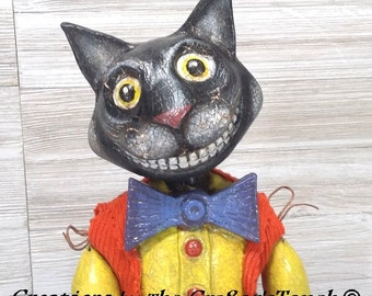 Handmade OOAK Primitive Styled Folk Art  Vintage Styled Halloween Black Cat Folk Art  Doll Marionette