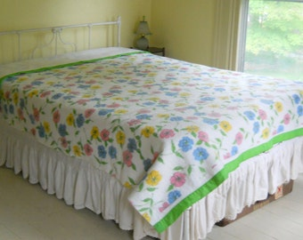 Vintage Acrylic Blend Blanket • Pink Blue Yellow Floral Blanket • Green Satin Trim Blanket