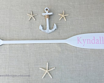 """41"""" Paddle Personalized Painted with Name / Optional Starfish Strings / Nautical Nursery Decor Beach Children Baby Wall Sign Canoe Oars"""