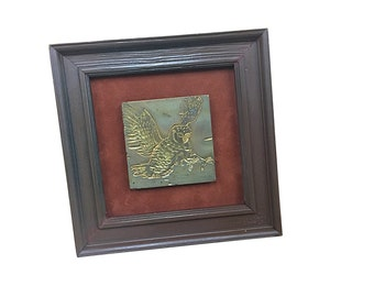 1960s Metal Owl Art Piece, Vintage Framed Owl in Flight Wall Hanging, Mid Century Home Decor, MCM Retro Style