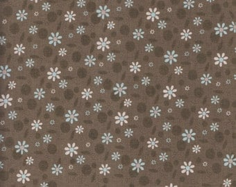 RJR Fabrics Time With Friends 2281 4 Flowers on Brown by the yard