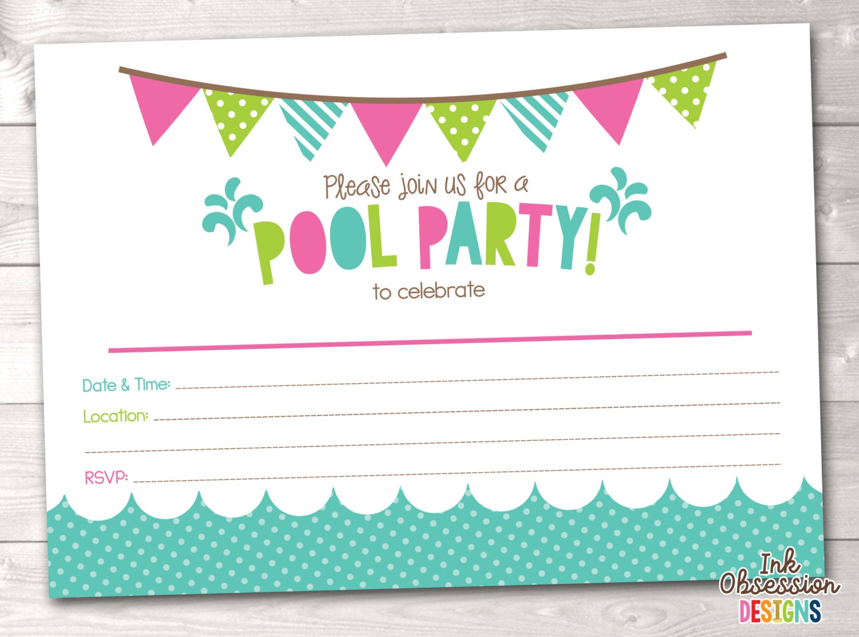 girls pool party printable invitation fill in blank invite