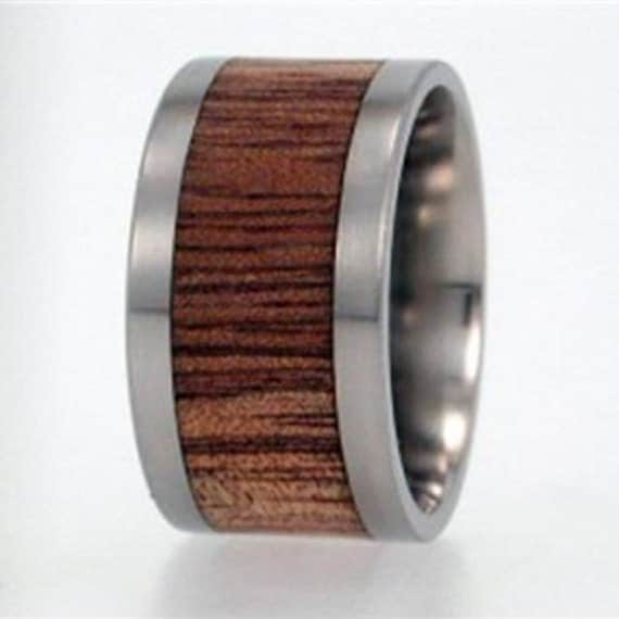 Mens Titanium Ring, Wood Inlay Ring With Koa Wood, Interchangeable Handmade Ring