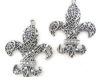Pair Fleur de Lis Charms Antique Silver-tone Rhinestone Accent