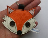Recycled orange leather fox applique keyring keychain