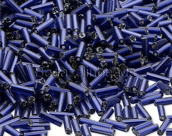 Lot of 500 Silver Lined Navy Blue Economical 1/4 inch Long 6mm Glass Bugle Tube Seed Beads