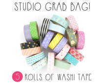 Washi Tape Grab Bag - Samples + Seconds - 5 Roll Lucky Dip - Washi Tape Pack - Washi Tape Set - Washi Tape Australia