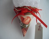 Red and Wite Tussie Mussie Victorian Inspried Cone Recycled Paper Ornament Home Decor Keepsake Gift Box ahsnf Made by handcraftUSA