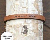 she walks in beauty - adjustable leather bracelet  (additional colors available)