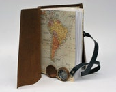 Leather Travel Journal with Maps and Compass by Binding Bee