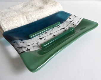 Fused Glass Soap Dish in Mineral Green and Sea Blue
