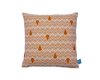 "Hand Printed Linen Pillow / Cushion Cover 18"" Deco in Pumpkin"