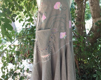 Quirky Flowery handpainted applique Dress / Linen Style - flouncy boho dress -  Slip on Summer Dress - made by Resplendent rags