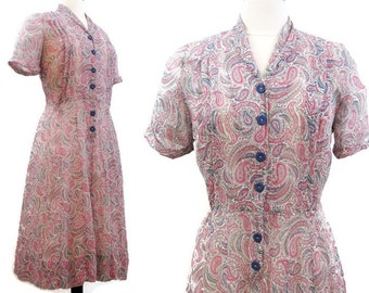 Vintage 40s 50s Dress Sheer Rayon Pink Blue Paisley Print Shirtwaist Day Dress M
