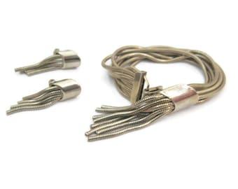 Vintage 60s Bracelet Earring Set Demi Parure Silver Serpentine Fringe Chains Clip on