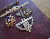 5 pc lot of vintage rhinestone jewelry - art deco antique vintage pieces - silver pot metal repair condition