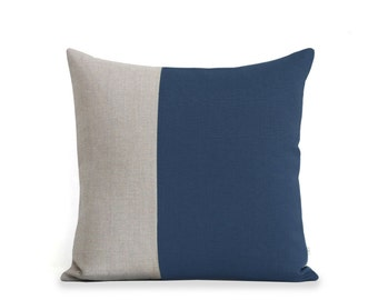 Minimal Color Block Decorative Pillow in Navy and Natural Linen (18x18) by JillianReneDecor - Modern Home Decor - Two Tone - For Him