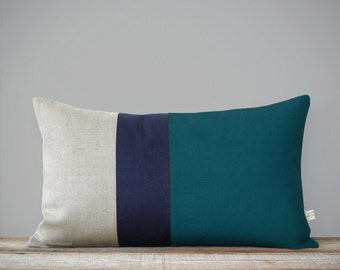 12x20 Colorblock Pillow Cover in Teal, Navy and Natural Linen by JillianReneDecor Modern Winter Home Decor - Striped Trio - Custom Colors