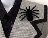 Along Came A Spider Brooch - Pin / Halloween Accessory / Spooky Big Black Spider Pin / Basic Soft Black Pin / Gift Under 15