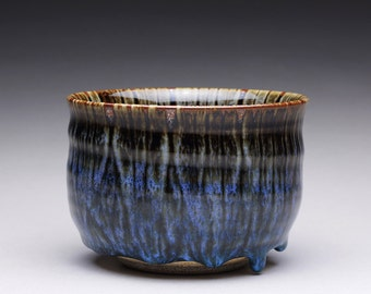 RESERVED handmade matcha chawan, ceramic tea bowl, small pottery bowl with black tenmoku and blue chun glazes