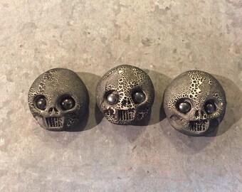 Ceramic Skull Magnets (set of 3) *small eyes