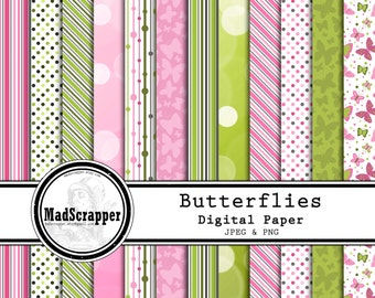 Digital Scrapbook Paper Pink Butterflies 12 Patterns 4 Solids 12 x 12 Instant Download