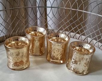 vintage gold mercury votive holders set/4