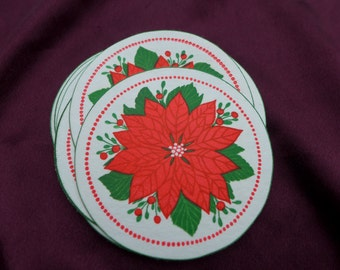 Vintage Poinsettia Round Paper Coasters / Christmas / Crafts