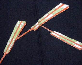 Vintage kimono S85, silk, black, tomesode