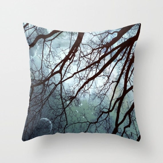 Moonlit Trees Throw Pillow, Starry Night Pillow, 16x16, 18x18, 20x20, Decorative Pillow Case, Cushion Case, Night Sky, Whimsical, Moon,Stars