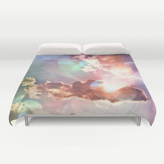 Rainbow Sky Duvet Cover, Decorative Multicolor bedding, light, happy comfortercover, bedroom, blanket, wedding gift, dreamy,whimsical,cloudy