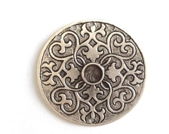 1 pc -Matte Silver Plated Base Cameo, Flower Pendant - 70x70mm-(411-042SP)