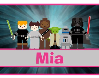 personalized name pillow case GIRL pink jedi lightsabor star wars inspired pillowcase...