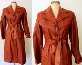 Leather Trench Coat / Belted Leather Trench / RUST LEATHER Trench Jacket