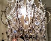 Silver Crystal Cage Chandelier, Antique Chandelier, Petite Chandelier, Vintage Lighting