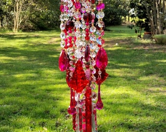 Antique Crystal Wind Chime, Red and Pink Crystal, Garden Decoration, Window Decoration, Boho Wind Chime, Crystal Glass Art