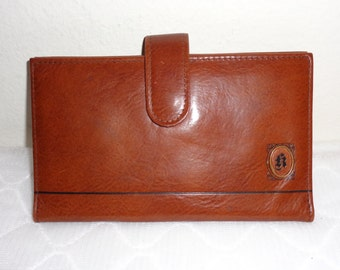 genuine glazed leather designer wallet coin purse vintage 80s very clean flawless condition