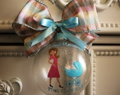 NEW MOMMY'S 1st CHRISTMAS hand painted large glass ornament