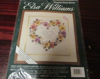 Elsa Williams Counted Cross Stitch Kit Pansy Heart Wedding Sampler JCA 02097 Complete and Ready to Stitch