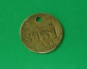 Vintage Brass Tag Tags Number Tag Tags Number 3451 Tool Check  Tag Brass Numbered Tag Steampunk Jewelry DIY Jewelry