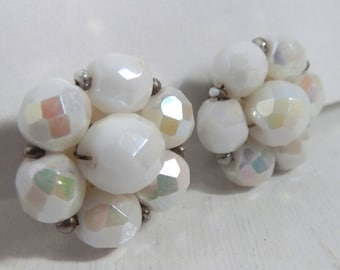 Vintage white aurora borealis beaded cluster clip on earrings plastic faceted ab plastic beads Made in Western Germany